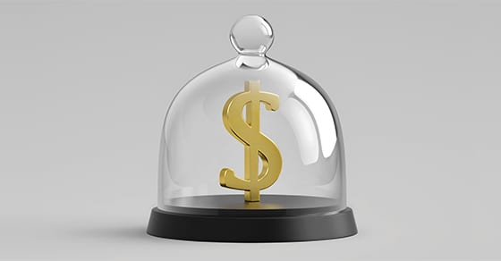 image of a dollar sign in a protective glass enclosure
