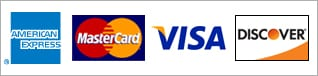 logos of credit cards accepted American Express, Mastercard, Visa, Discover