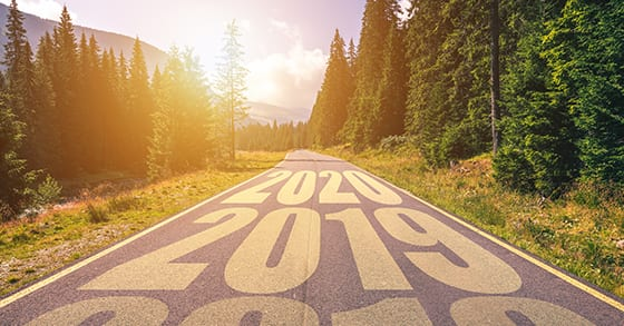Empty asphalt road with years 2018, 2019, 2020. Concept of future planning | Begin Business Strategic Planning with Financials | Dalby Wendland & Co. | CPAs & Business Advisors | Grand Junction CO | Glenwood Springs CO | Montrose CO