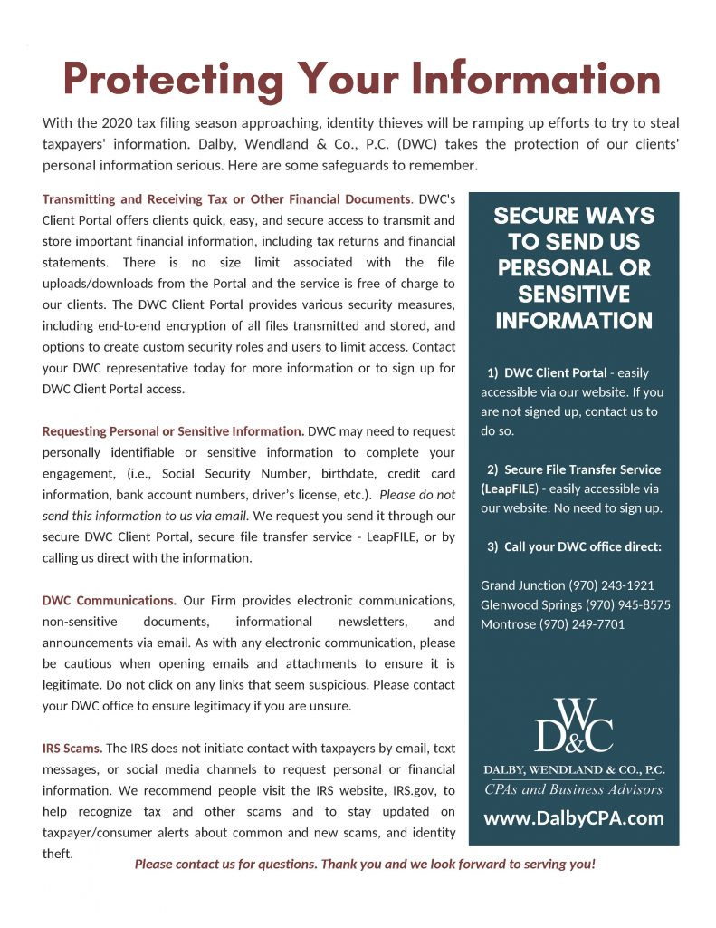 Helping to Protect Our Clients' Information | Dalby Wendland & Co. | CPAs | Business Advisors | Colorado