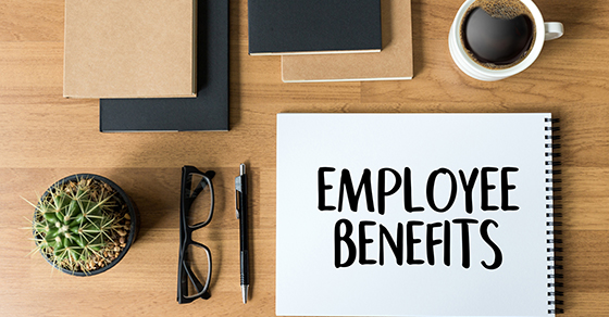 notebook on desk with words employee benefits written on it | Does your employee benfit plan need an audit? | Dalby Wendland & Co | CPAs & Business Advisors | Employee Benefit Plan Audits | Colorado