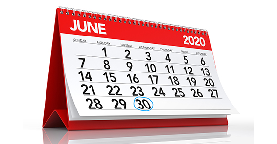 Calendar showing month of June 2020 | Streamline Your Month-End Close | Dalby Wendland & Co. | CPAs and Business Advisors | Grand Junction CO | Glenwood Springs CO | Montrose CO