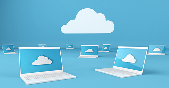 image of laptops and clouds with cloud computing concept | How to Account for the Costs of Cloud Computing Services | Dalby Wendland & Co. | CPAs & Business Advisors | Grand Junction CO | Glenwood Springs CO | Montrose CO