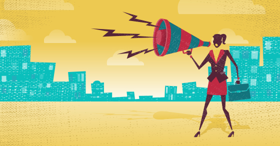illustration of business woman shouting out important news | Attn Banks: How to Report COVID-19-Related Debt Restructuring | Dalby Wendland & Co | CPAs & Business Advisors | Grand Junction CO | Glenwood Springs CO | Montrose CO