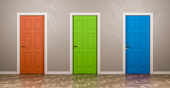 three different colored doors indicating three choices | Choose the Right Level of Assurance for Your Business | Dalby Wendland & Co. | CPAs & Business Advisors | Grand Junction CO | Glenwood Springs CO | Montrose CO