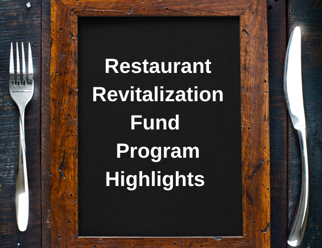 fork and knife on table next to chalboard menu with words Restaurant Revitalization Fund Program Highlights | Dalby Wendland & Co. | CPAs & Business Advisors | Grand Junction CO | Glenwood Springs CO | Montrose CO