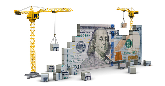 3d illustration of two cranes building 100 dollars | evaluating capital budgeting decisions | Dalby Wendland &Co. | CPAs & Business Advisors | Grand Junction CO | Glenwood Springs CO | Montrose CO