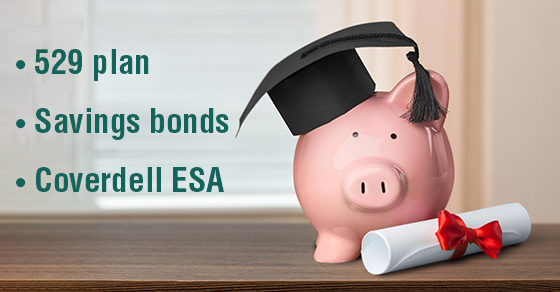 piggy bank with a diploma and graduation cap and words 529 plan, savings bonds, coverdell ESA | saving for college funds | Dalby Wendland & Co. | CPAs & Business Advisors | Grand Junction CO | Glenwood Springs CO | Montrose CO