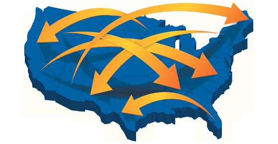 map of the United States with arrows crossing over to different states | moving your trust across state lines | Dalby Wendland & Co. | CPAs & Business Advisors | Grand Junction CO | Glenwood Springs CO | Montrose CO